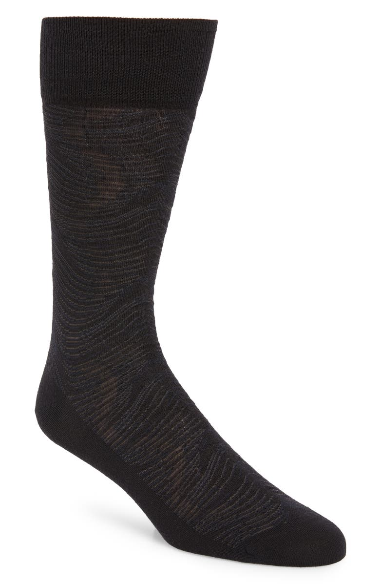 NORDSTROM SIGNATURE Wave Merino Wool Blend Dress Socks, Main, color, 001