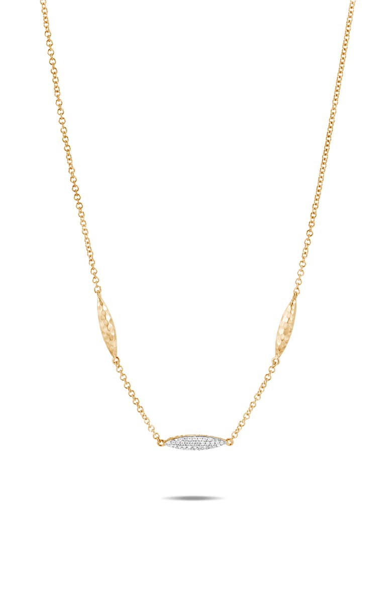 JOHN HARDY Classic Chain Hammered Spear 18K Gold & Diamond Necklace, Main, color, GOLD