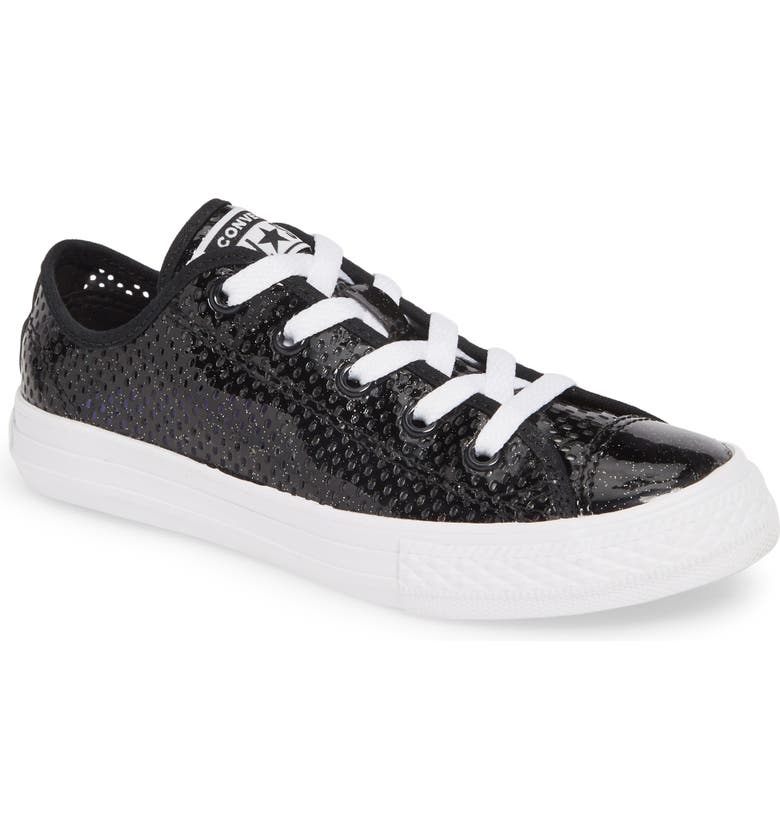 CONVERSE Chuck Taylor<sup>®</sup> All Star<sup>®</sup> Glitter Mesh Low Top Sneaker, Main, color, 001