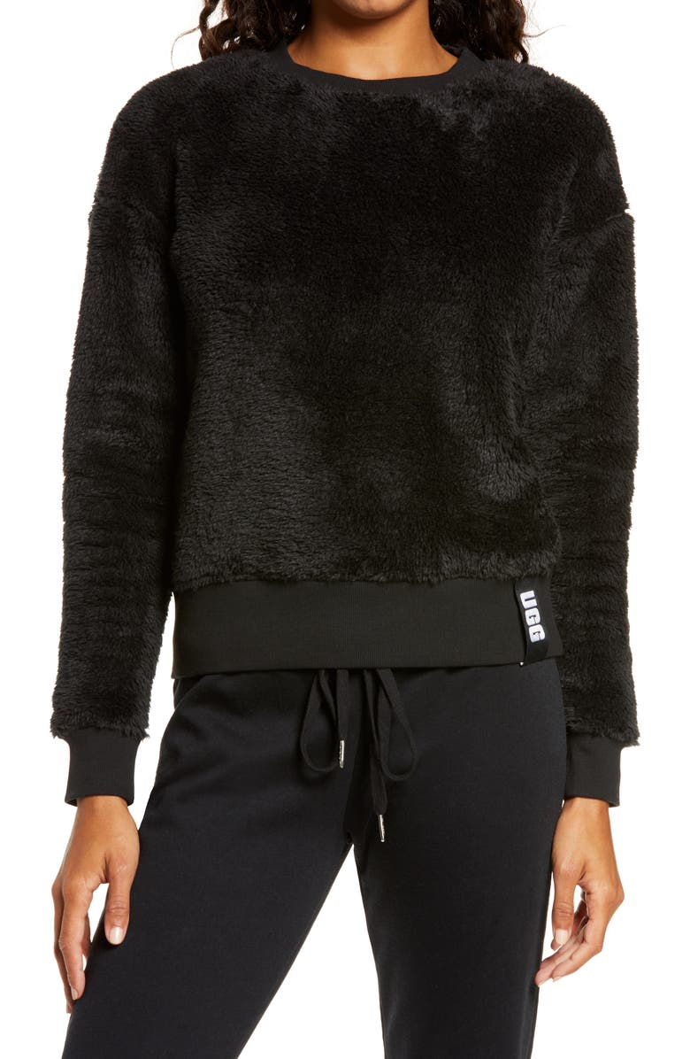 UGG<SUP>®</SUP> Prue Fleece Sweatshirt, Main, color, 001