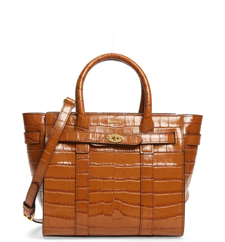 MULBERRY Mini Zipped Bayswater Croc Embossed Leather Satchel, Main, color, 200