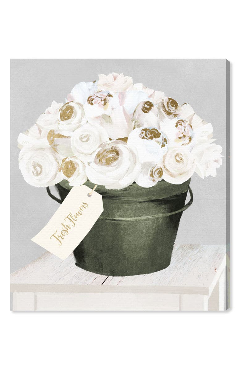 OLIVER GAL Bucket Full of Gold Roses Canvas Wall Art, Main, color, WHITE