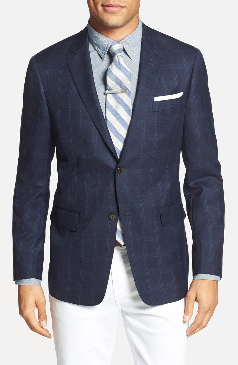 TODD SNYDER WHITE LABEL Trim Fit Plaid Wool Sport Coat, Main, color, NAVY