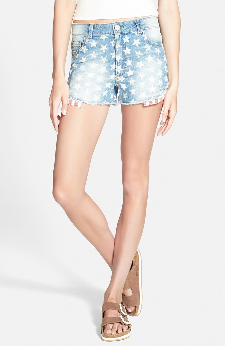 LOVE, FIRE Fire 'Star Spangled' Cutoff Denim Shorts, Main, color, 400