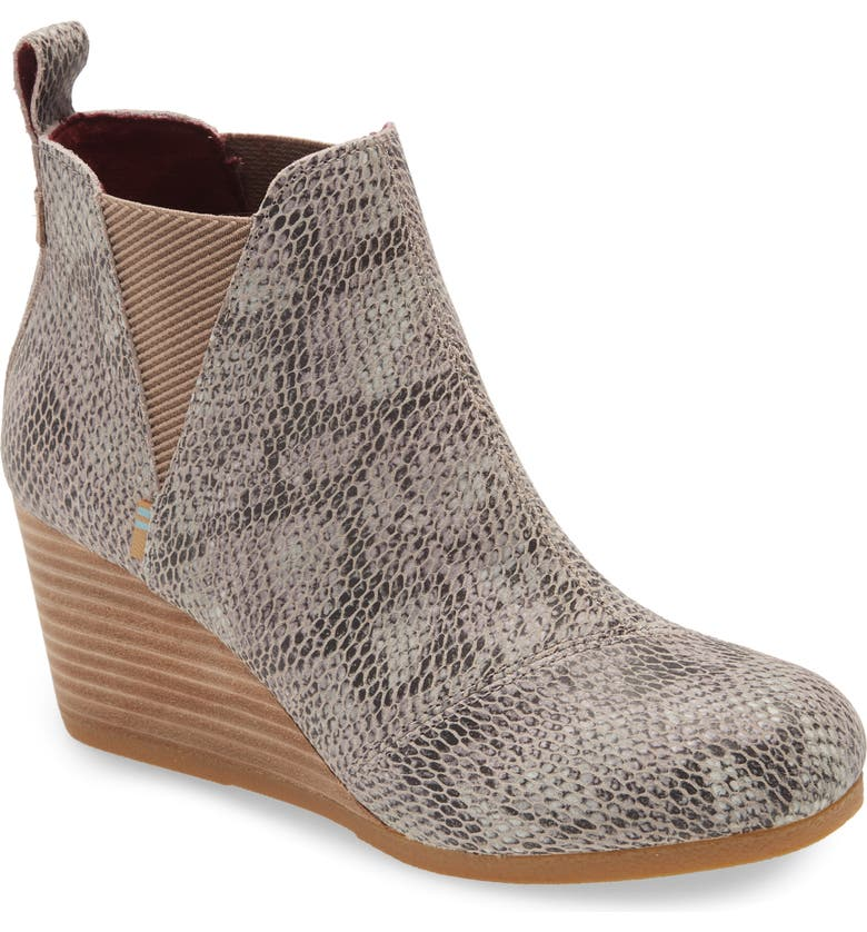 TOMS Kelsey Wedge Bootie, Main, color, TAUPE SNAKE PRINT