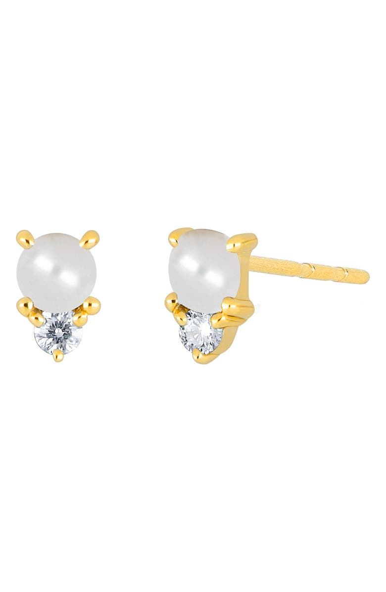 EF COLLECTION Birthstone Stud Earrings, Main, color, YELLOW GOLD/ PEARL