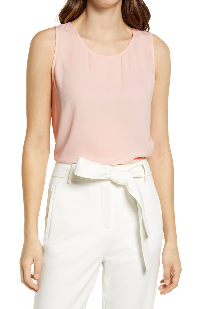 HALOGEN<SUP>®</SUP> Scoop Neck Woven Shell, Main, color, PINK CHINTZ