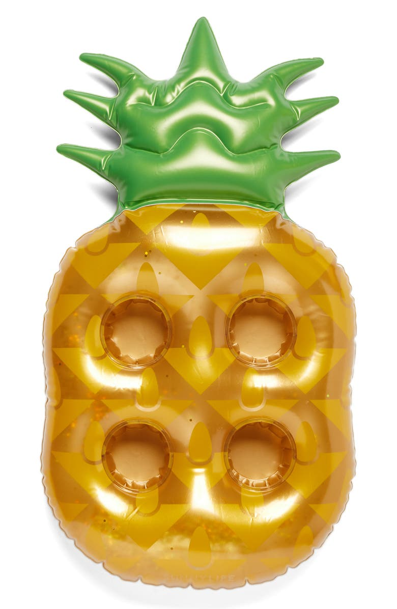 SUNNYLIFE Inflatable Pineapple Drink Holder Pool Float, Main, color, Gold
