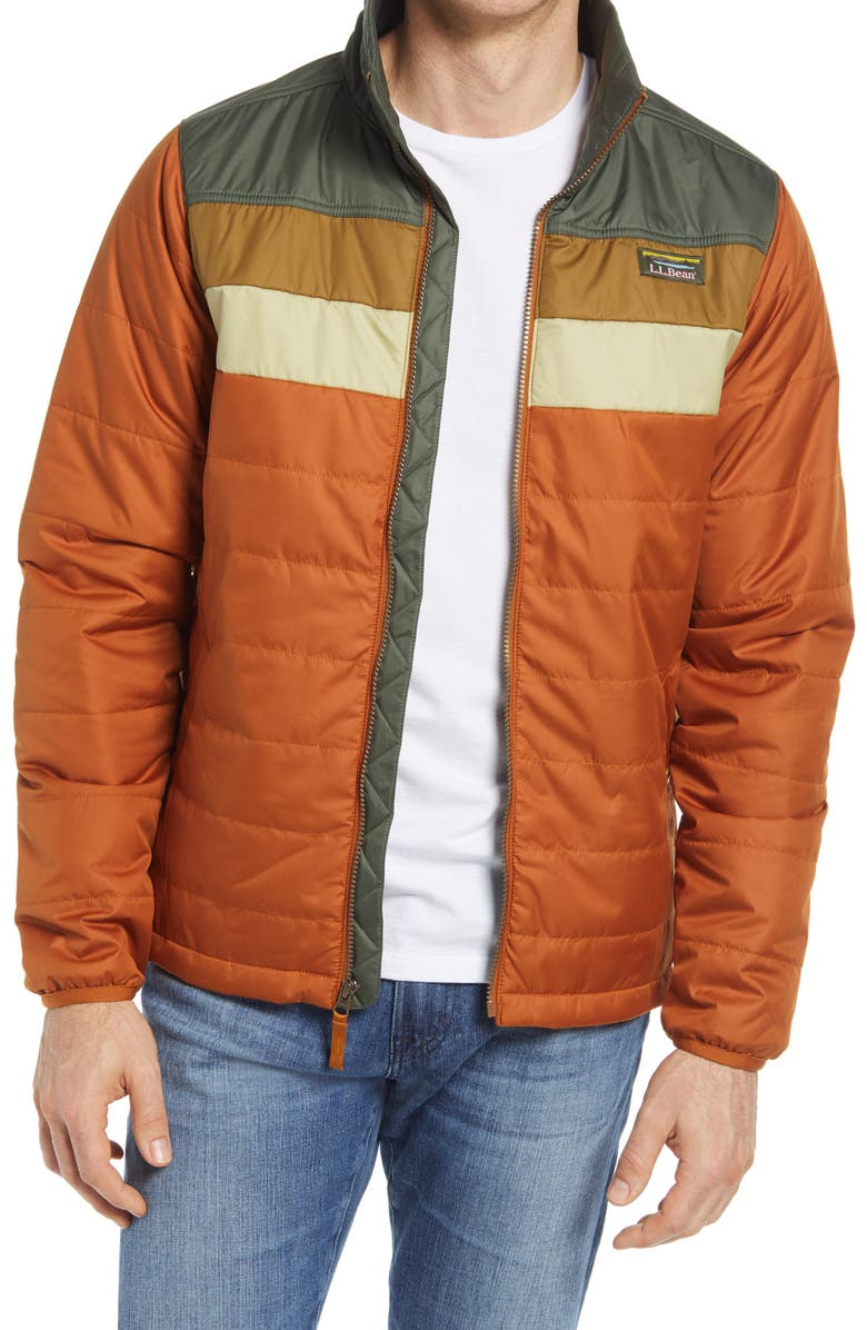 L.L.BEAN Men's Mountain Classic Water Repellent Puffer Jacket, Main, color, GLAZED GINGER/ THYME