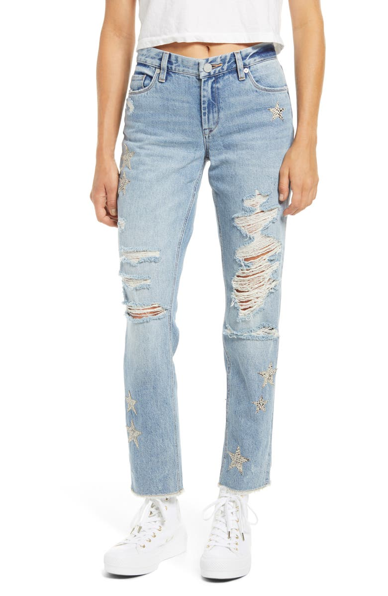 BLANKNYC Snake Star Patch Crop Jeans, Main, color, STAR CHILD