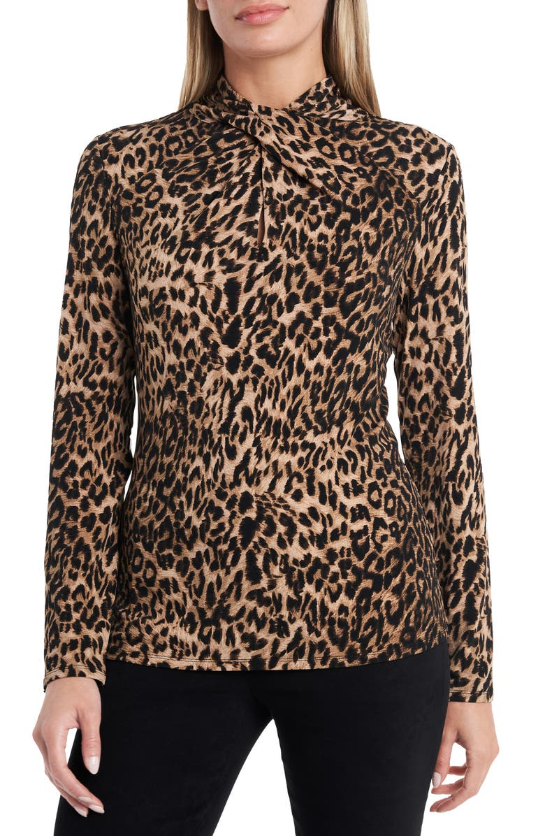 VINCE CAMUTO Leopard Print Twist Neck Top, Main, color, 001