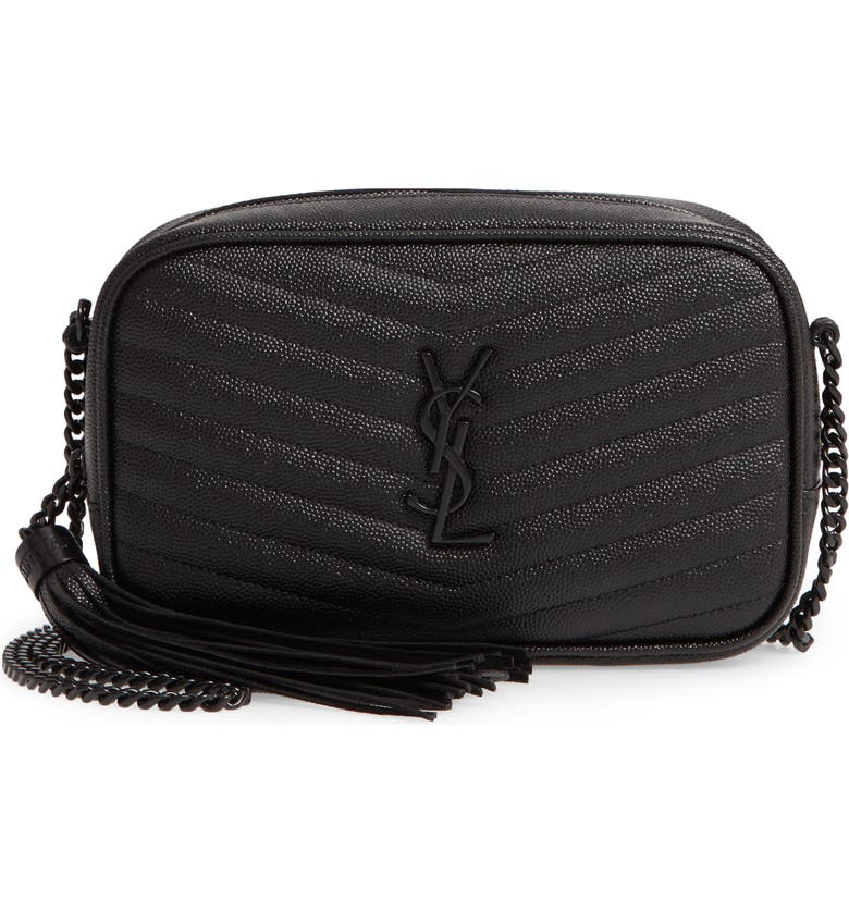 SAINT LAURENT Mini Lou Pebbled Leather Camera Bag, Main, color, NOIR