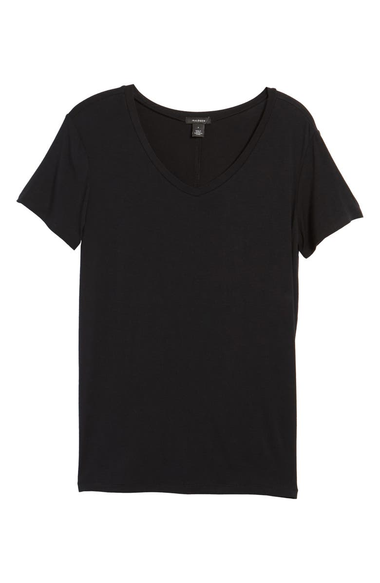 HALOGEN<SUP>®</SUP> Modal Jersey V-Neck Tee, Main, color, 001