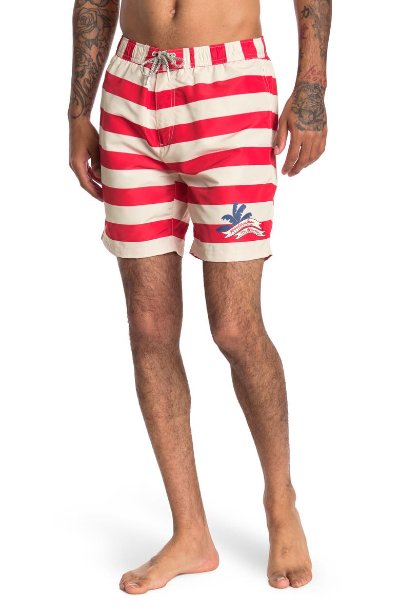SCOTCH AND SODA Striped Mid-Length Swim Trunks, Main, color, RED