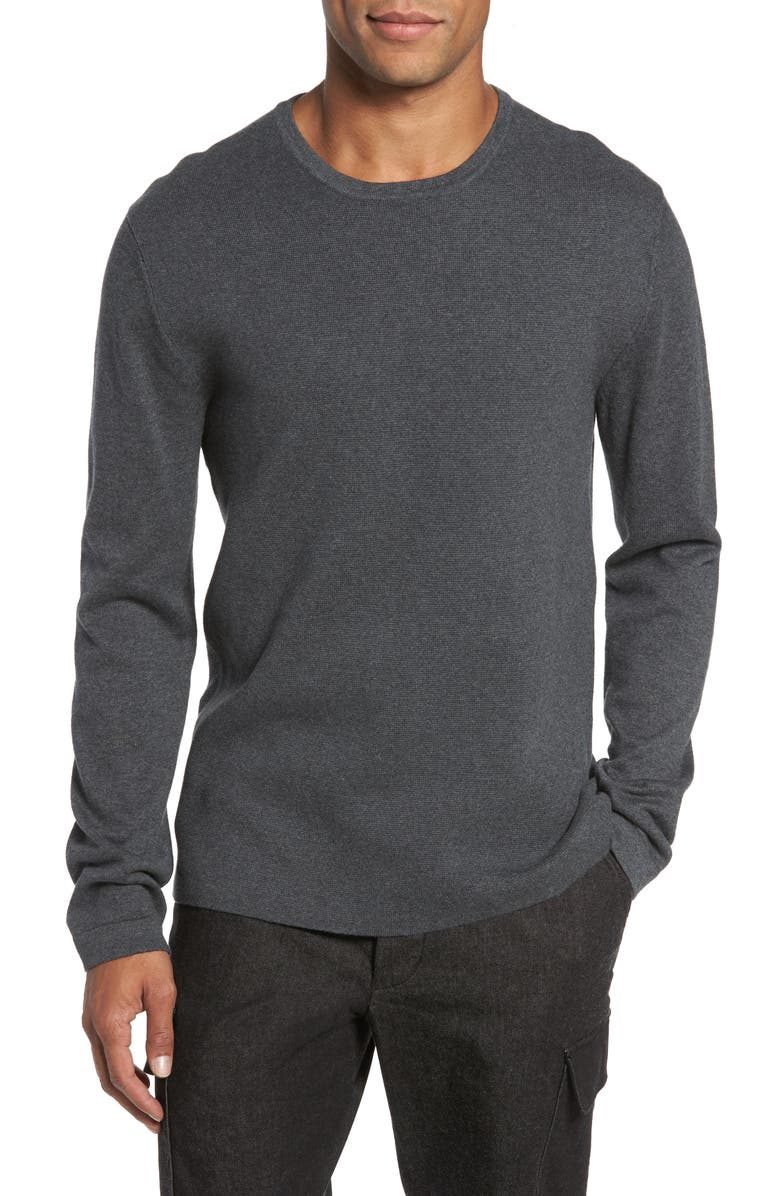 FRENCH CONNECTION Milano Regular Fit Crewneck Sweater, Main, color, CHARCOAL MELANGE