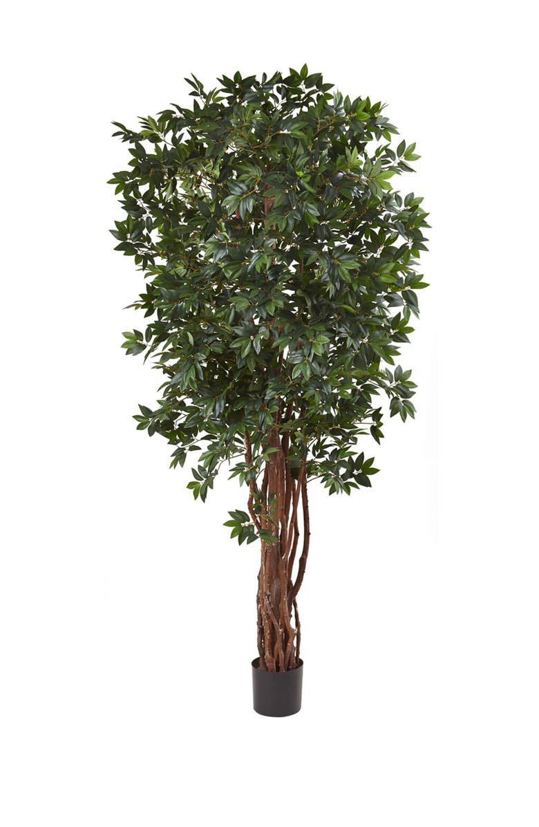 NEARLY NATURAL 7.5ft. Lychee Silk Tree, Main, color, GREEN