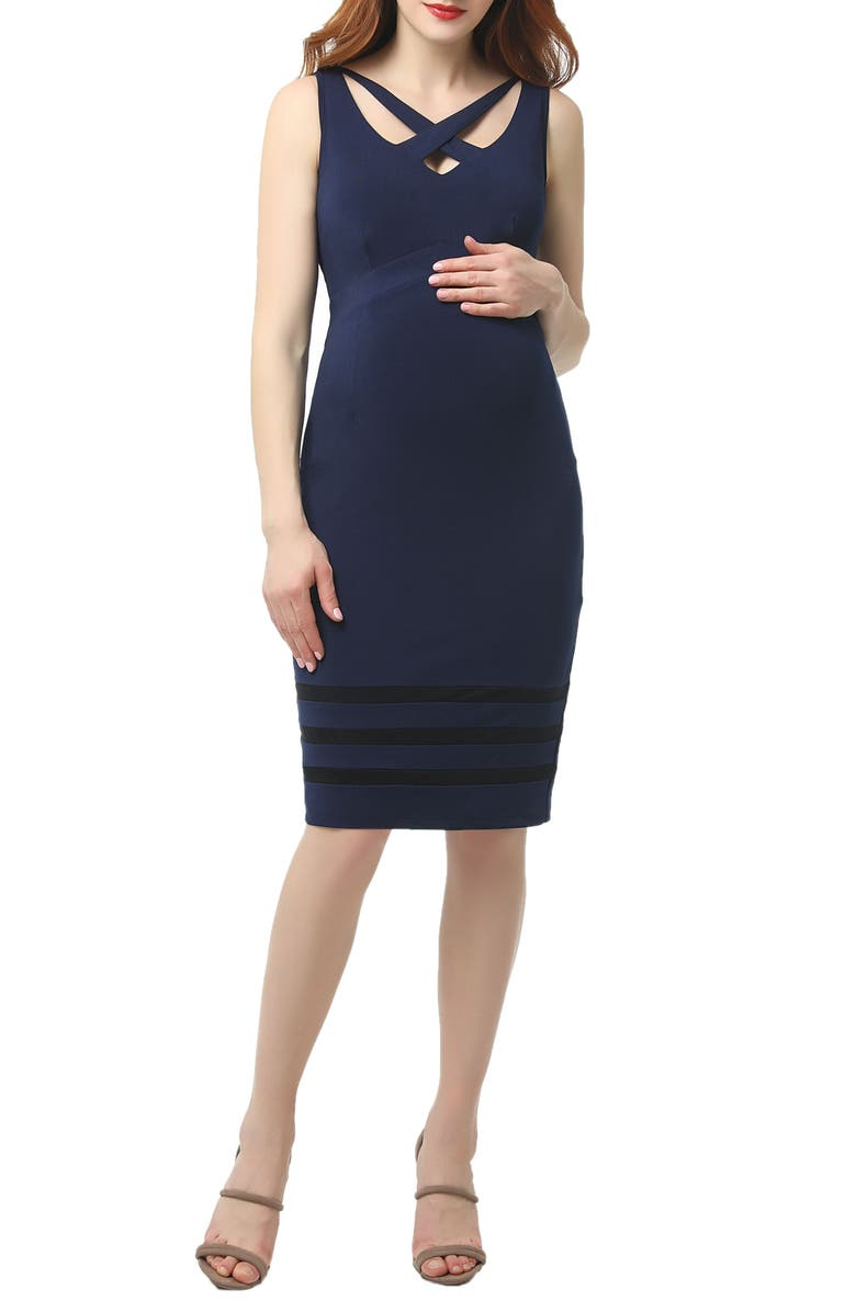 KIMI AND KAI Valerie Maternity Midi Body-Con Dress, Main, color, NAVY