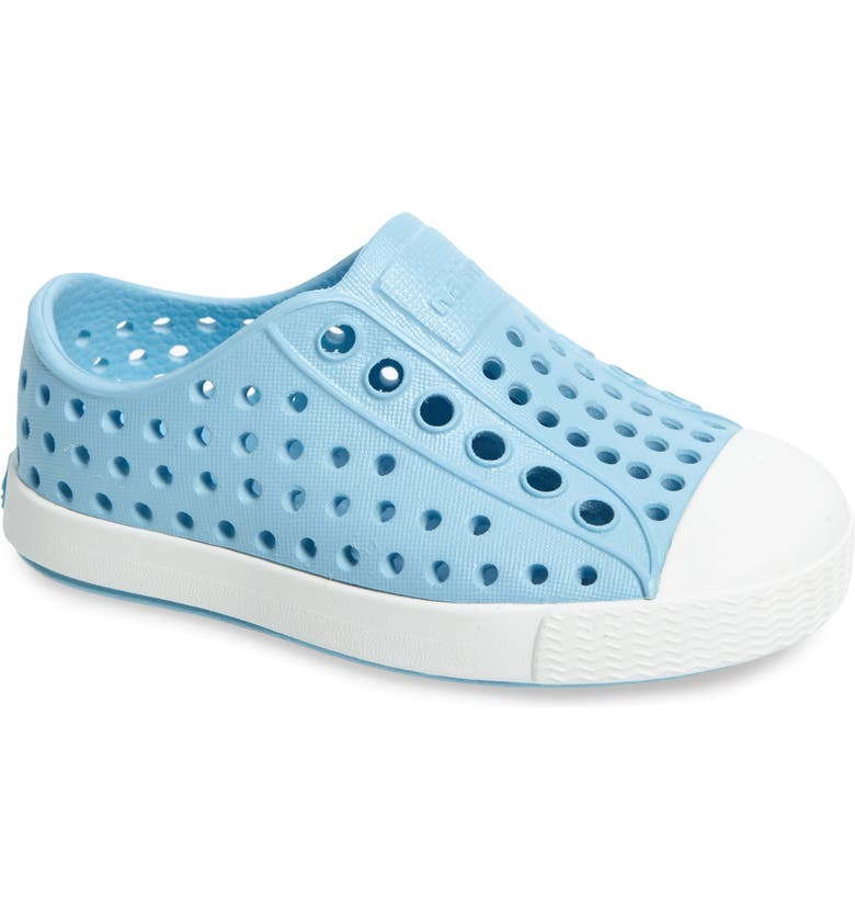 NATIVE SHOES Jefferson Water Friendly Slip-On Vegan Sneaker, Main, color, SKY BLUE/ SHELL WHITE