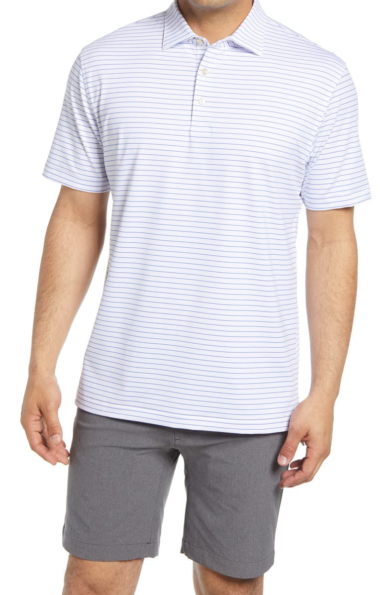 PETER MILLAR Crafty Stripe Short Sleeve Performance Polo, Main, color, WHITE/ BLUE