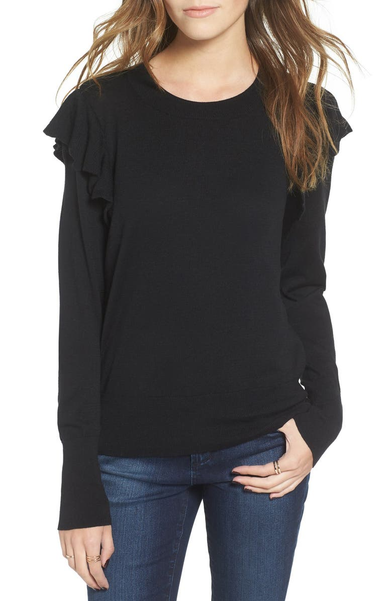 BP. Knit Ruffle Sleeve Pullover, Main, color, 001