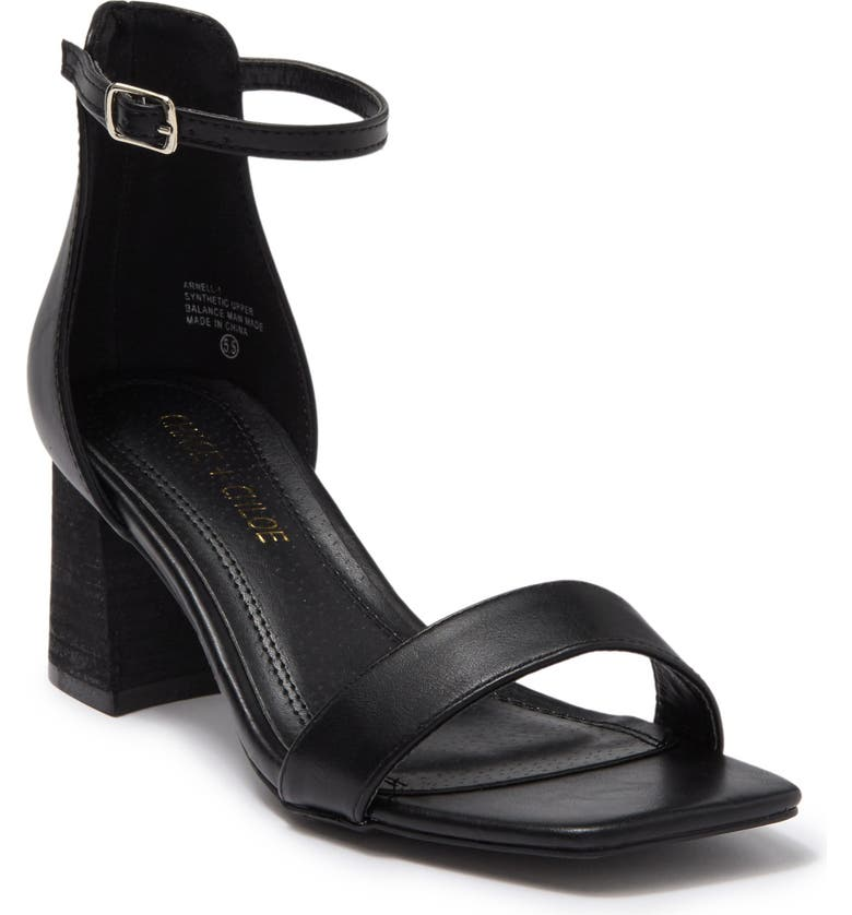 CHASE AND CHLOE Ankle Strap Block Heel Sandal, Main, color, BLACK PU