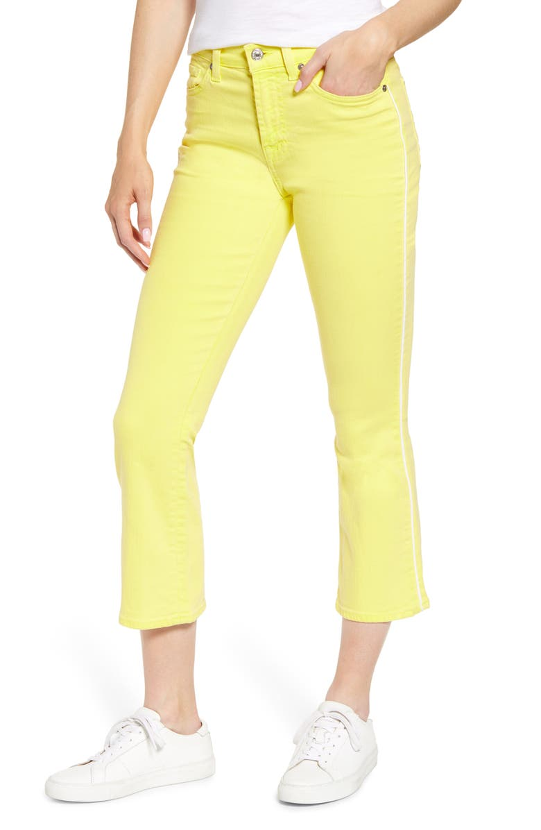 7 FOR ALL MANKIND High Waist Crop Jeans, Main, color, SUNFLOWER