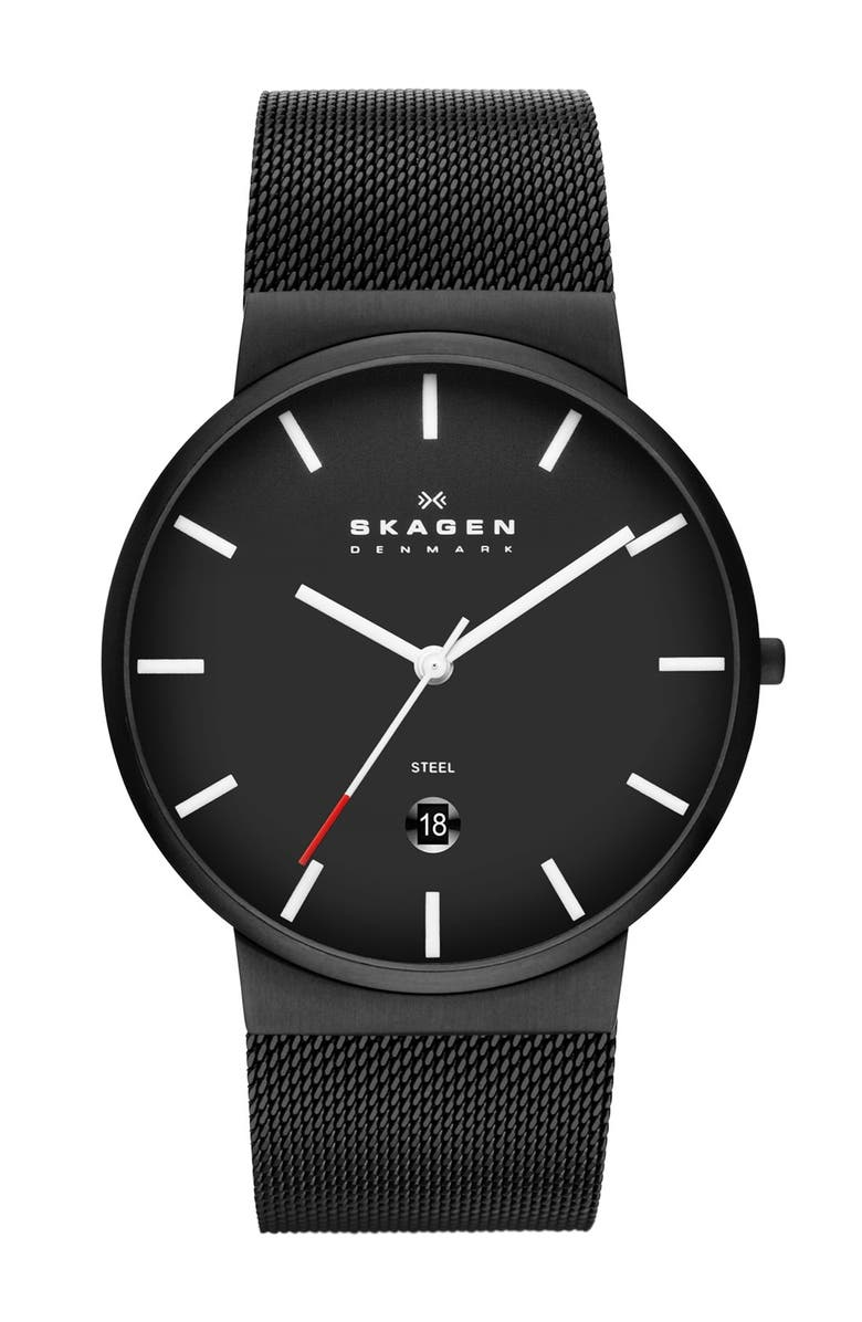 SKAGEN 'Ancher' Round Mesh Strap Watch, 39mm, Main, color, 001