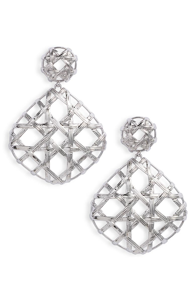 KENDRA SCOTT Natalie Drop Earrings, Main, color, RHODIUM METAL