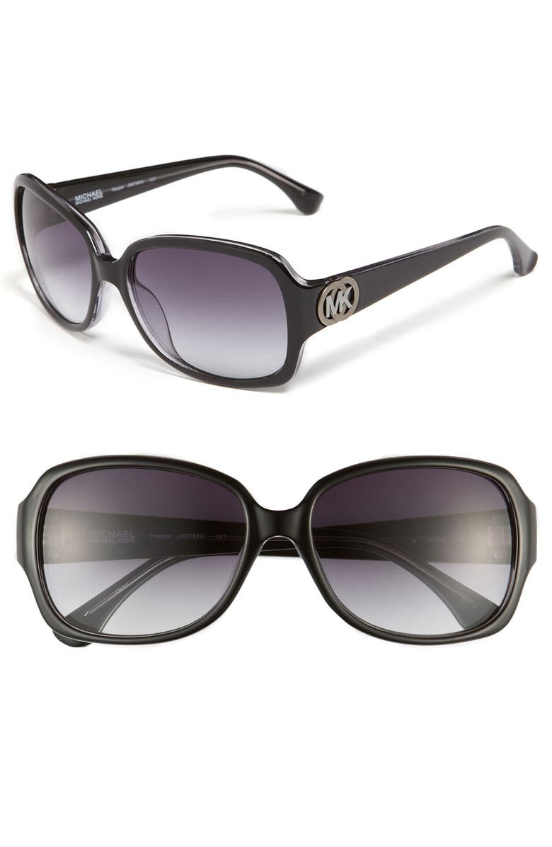 MICHAEL MICHAEL KORS 'Harper' 57mm Sunglasses, Main, color, 001