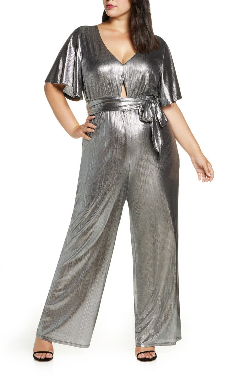 ELOQUII R29 x ELOQUII Wide Leg Metallic Jumpsuit, Main, color, 040