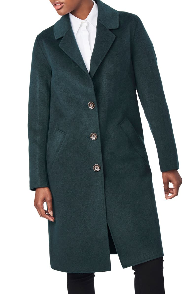 BERNARDO Notch Collar Coat, Main, color, DARK TEAL
