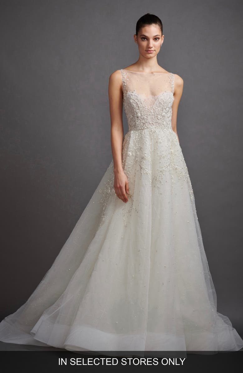 LAZARO Gabriela Beaded Lace & Tulle Wedding Dress, Main, color, 900