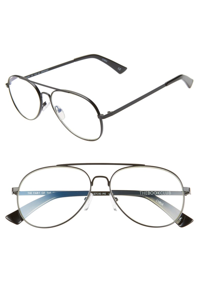 THE BOOK CLUB The Fart of the Eel 57mm Blue Light Blocking Reading Glasses, Main, color, 001