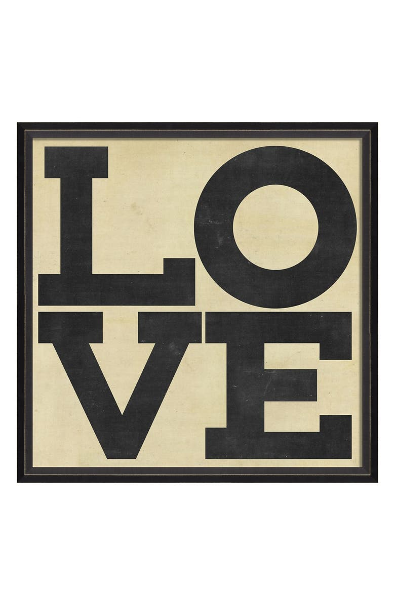 SPICHER AND COMPANY 'Love' Vintage Look Sign Artwork, Main, color, Black