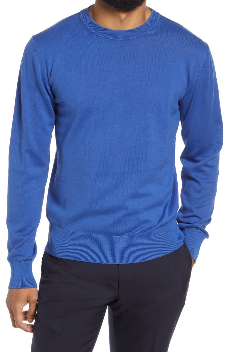 OFFICINE GÉNÉRALE Neils Cotton Crewneck Sweater, Main, color, DEEP BLUE