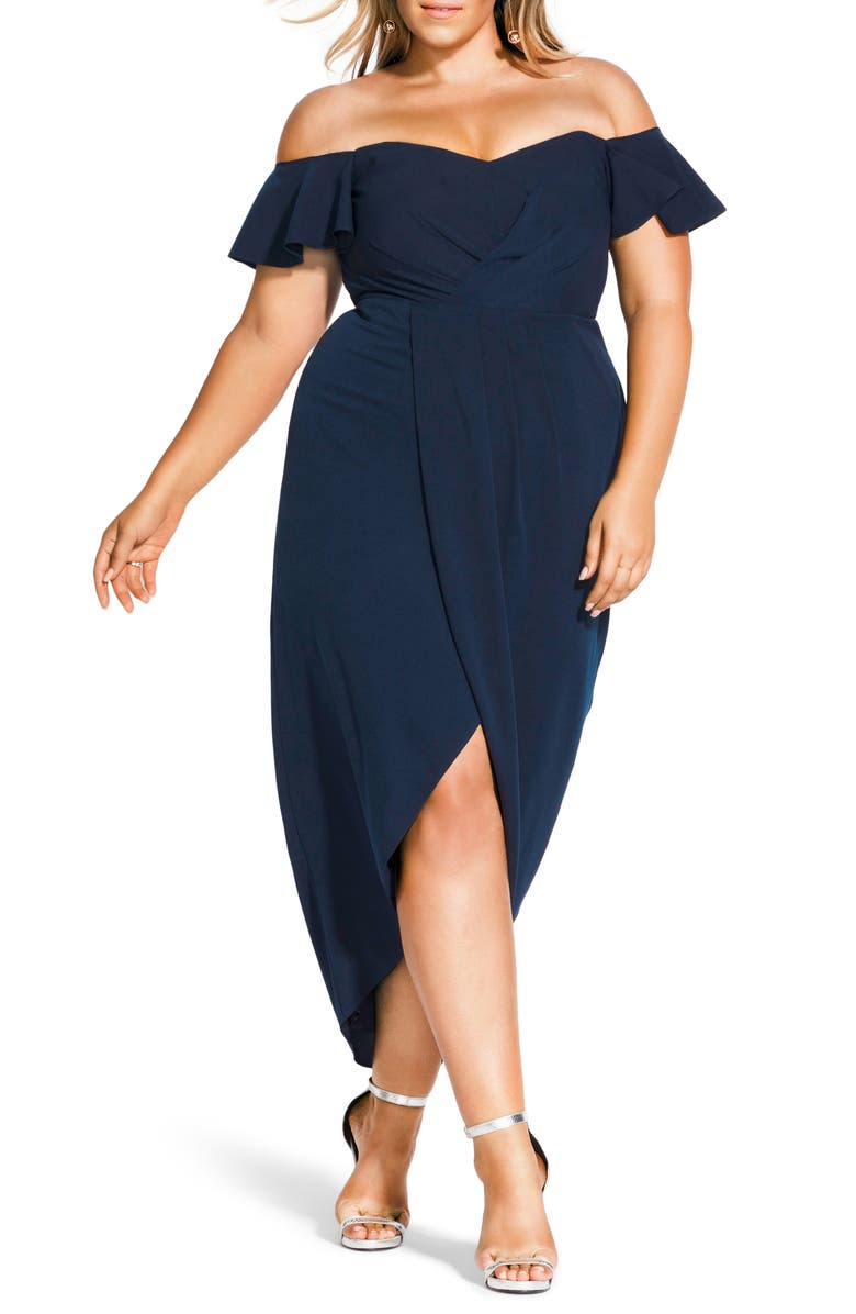 CITY CHIC Maxi Flutter Off the Shoulder High/Low Dress, Main, color, 406