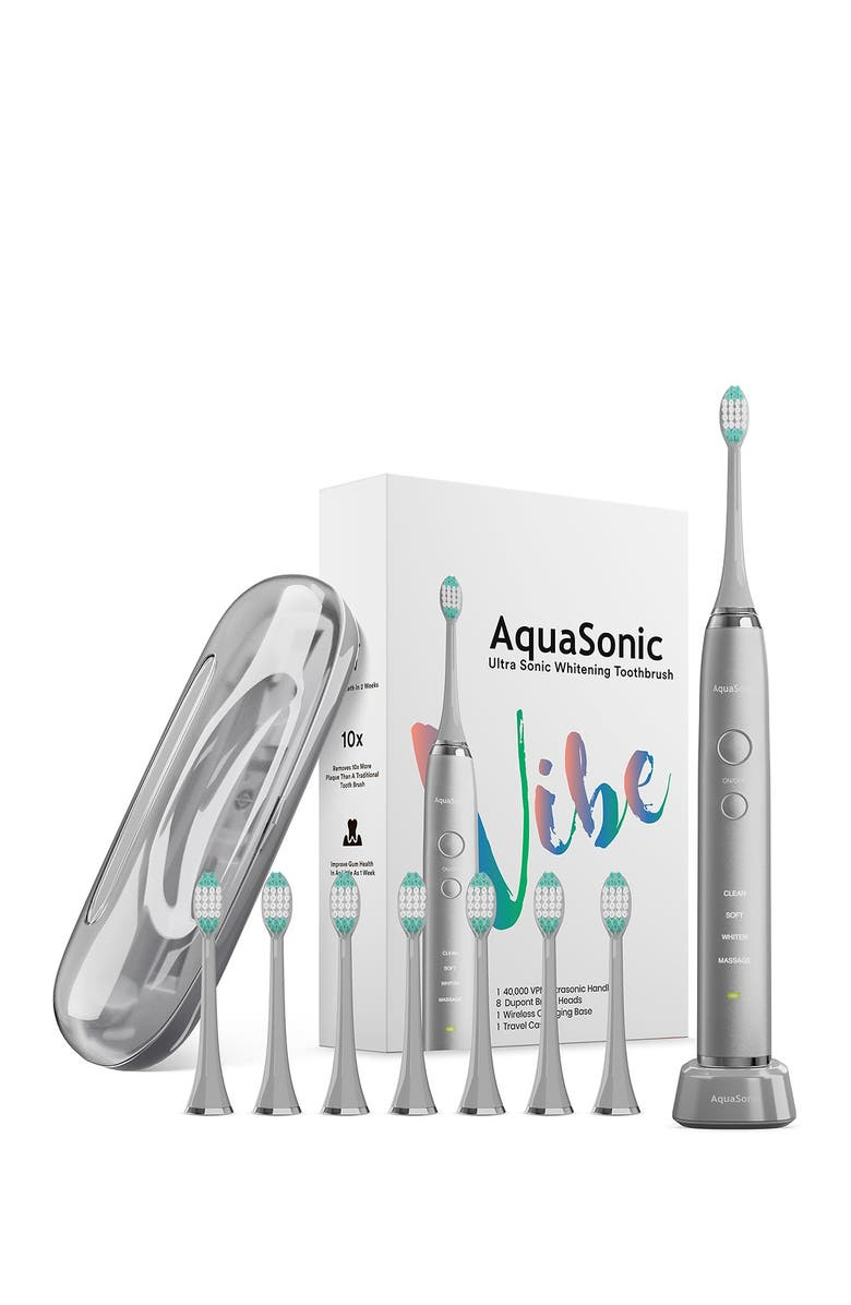 AQUASONIC VIBE Series Charcoal Gray UltraSonic Whitening Toothbrush with 8 DuPont Brush Heads & Travel Case, Main, color, CHARCOAL