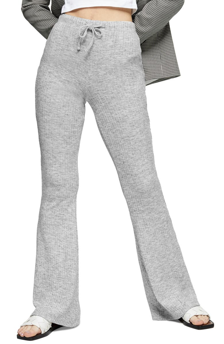 TOPSHOP Rib Flare Sweatpants, Main, color, GREY MARL