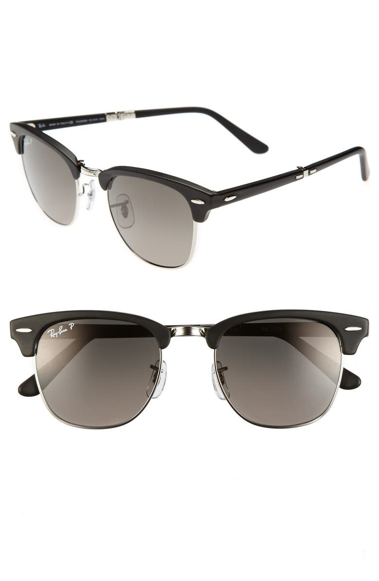 RAY-BAN 'Clubmaster' 51mm Polarized Folding Sunglasses, Main, color, 002