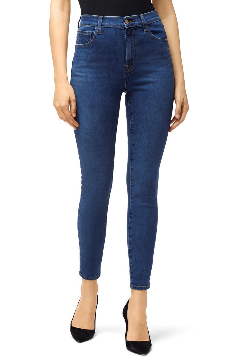 J BRAND Leenah Super High Waist Raw Ankle Skinny Jeans, Main, color, 400