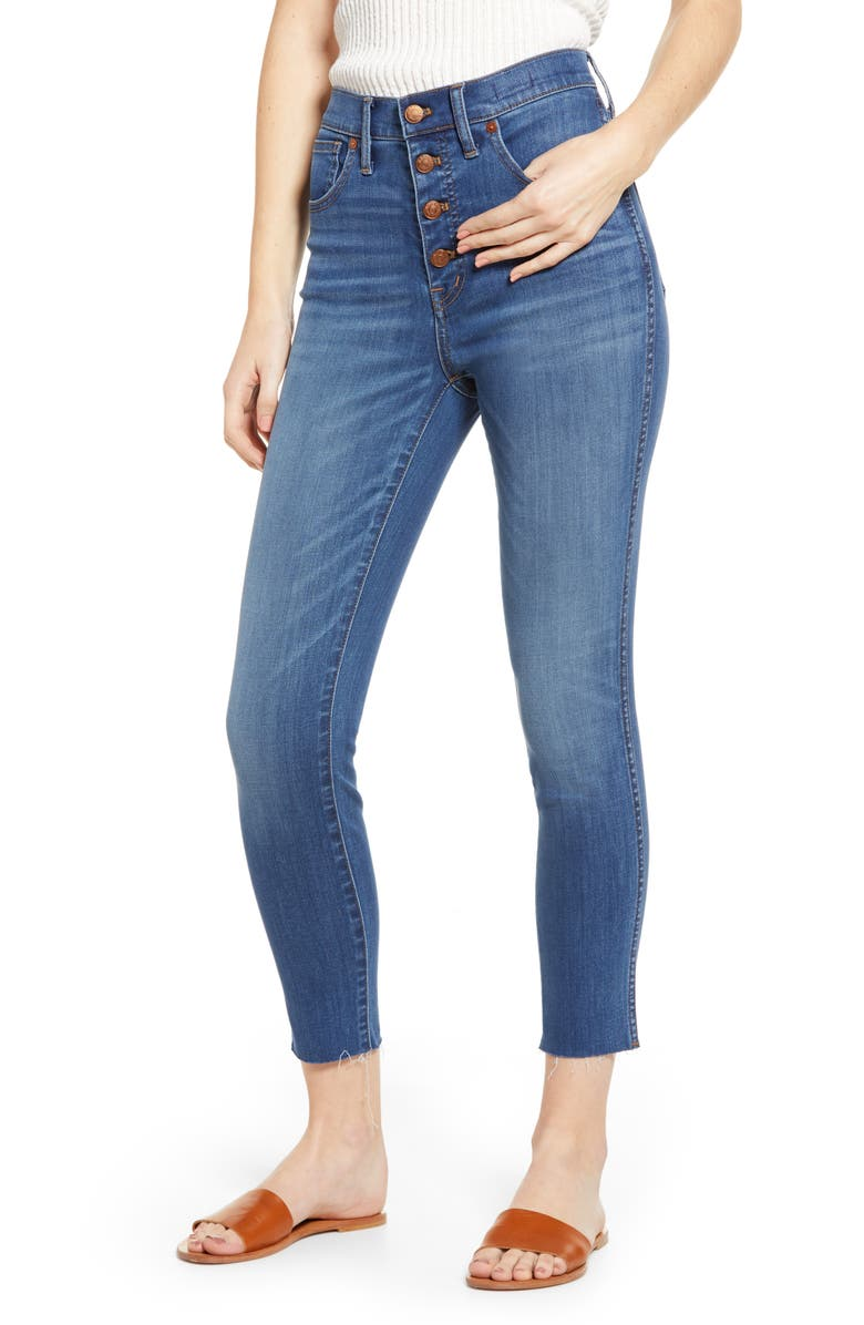 MADEWELL 10-Inch High Waist Button Front Crop Skinny Jeans, Main, color, 400