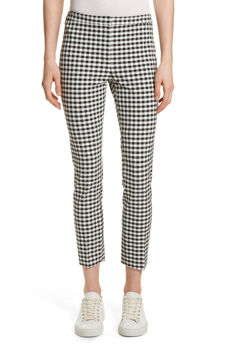 THEORY Gingham Classic Skinny Pants, Main, color, BLACK/ WHITE