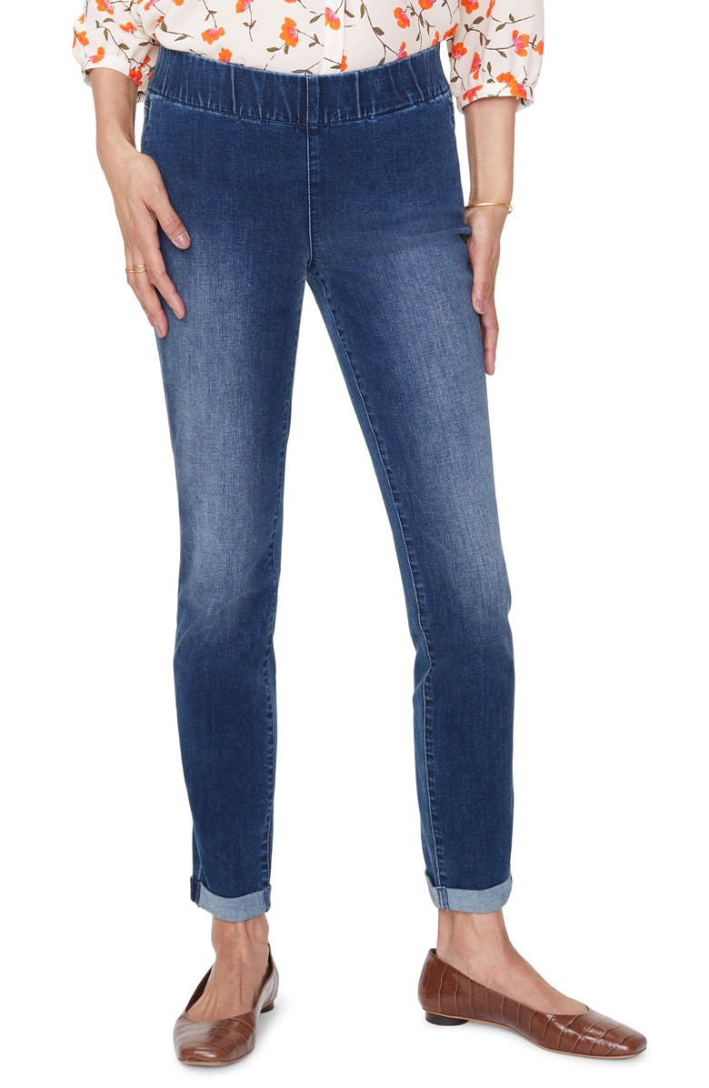NYDJ Pull-On Rolled Cuff Skinny Ankle Jeans, Main, color, CLEAN SOLANA
