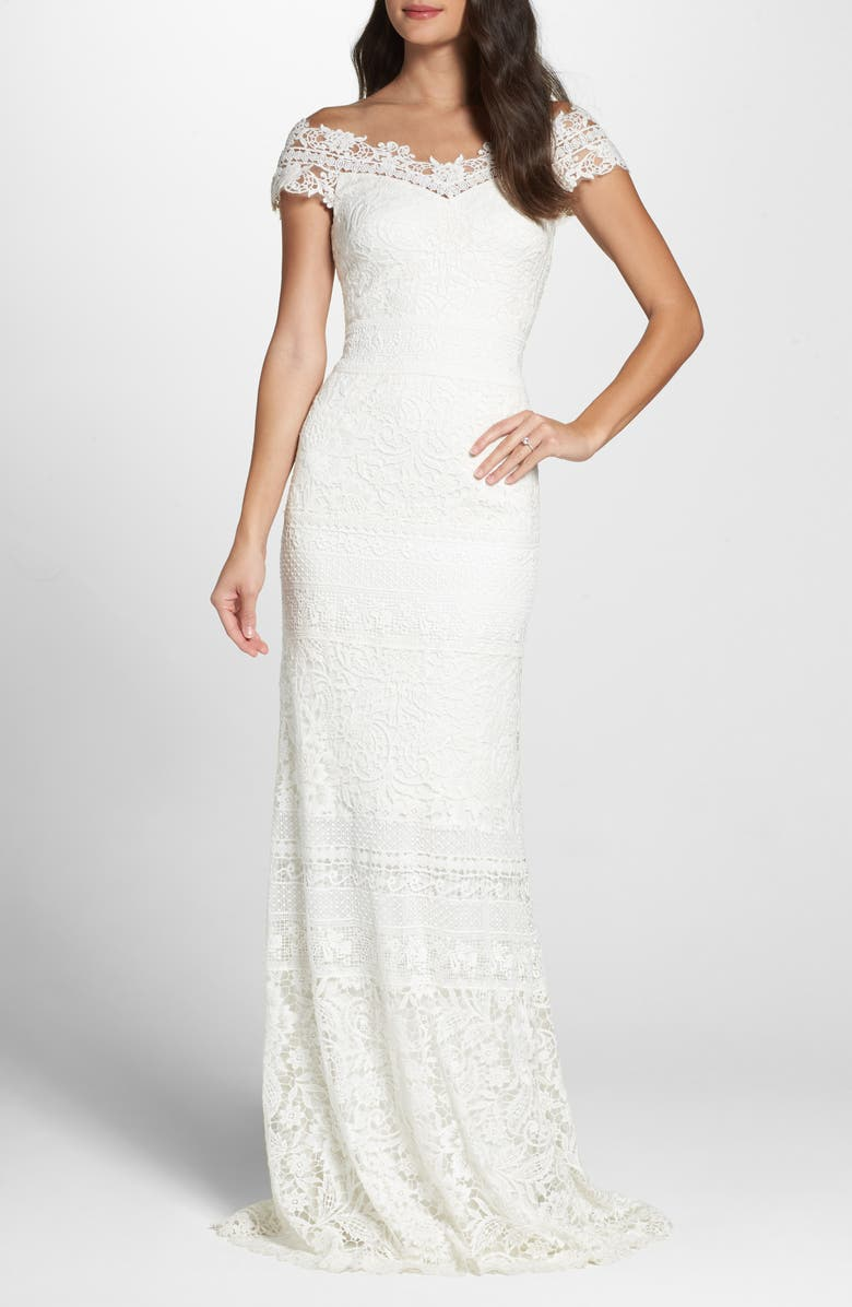 TADASHI SHOJI Off the Shoulder Illusion Lace Gown, Main, color, IVORY