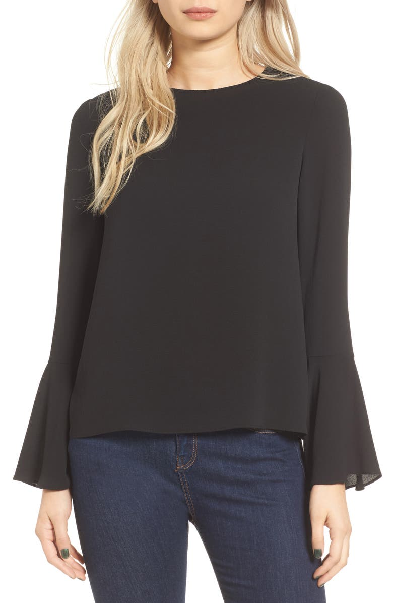 WAYF Winning Hand Bell Sleeve Top, Main, color, 001