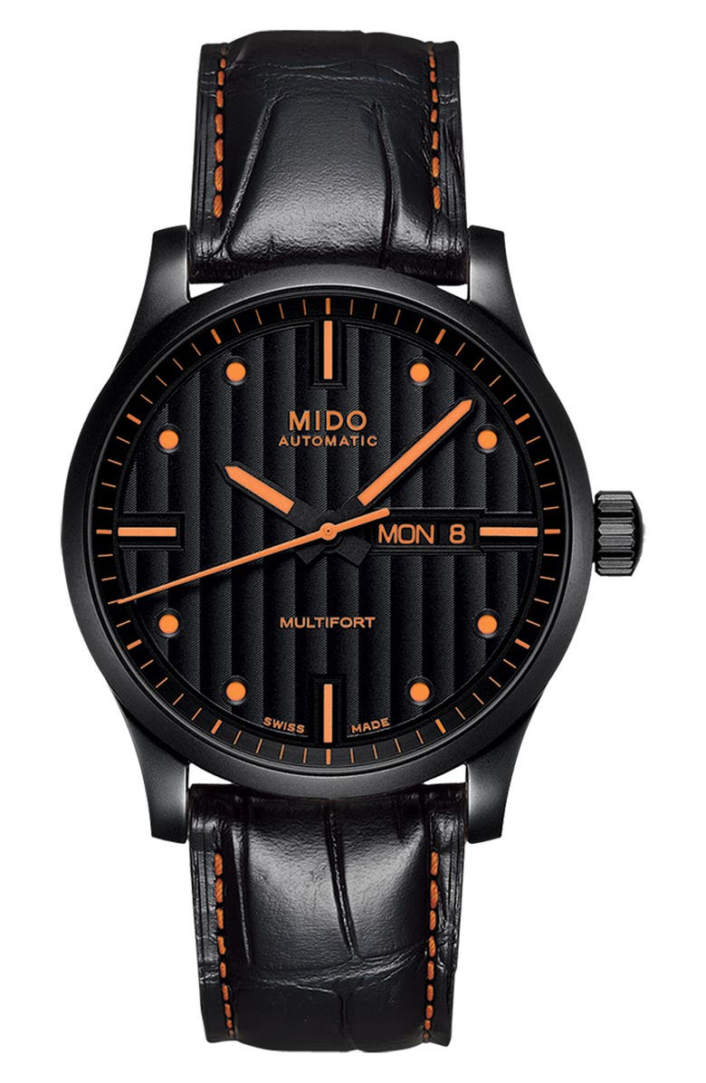 MIDO Multifort Automatic Leather Strap Watch, 42mm, Main, color, BLACK/ ORANGE