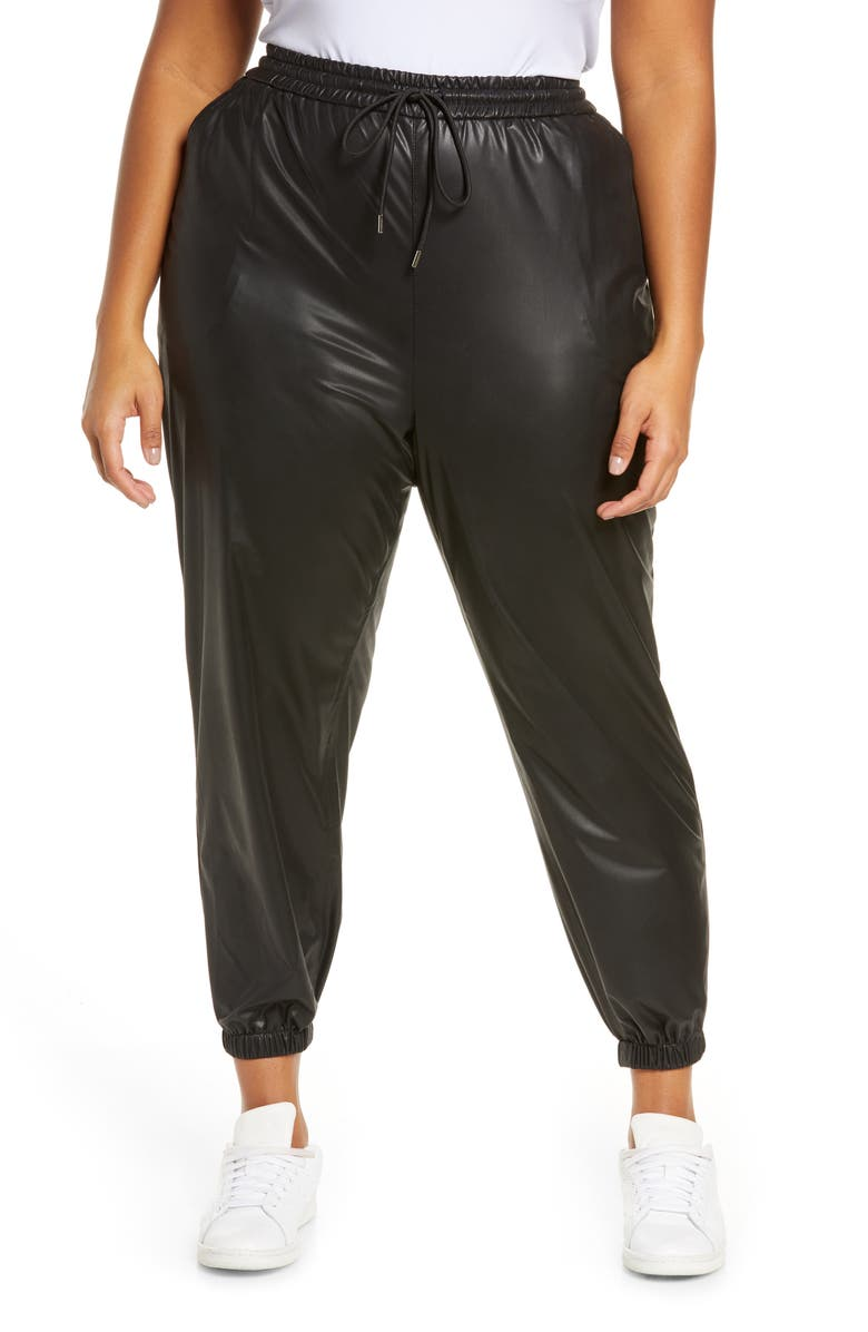BLANKNYC East Vibes Faux Leather Joggers, Main, color, EASTSIDE VIBE
