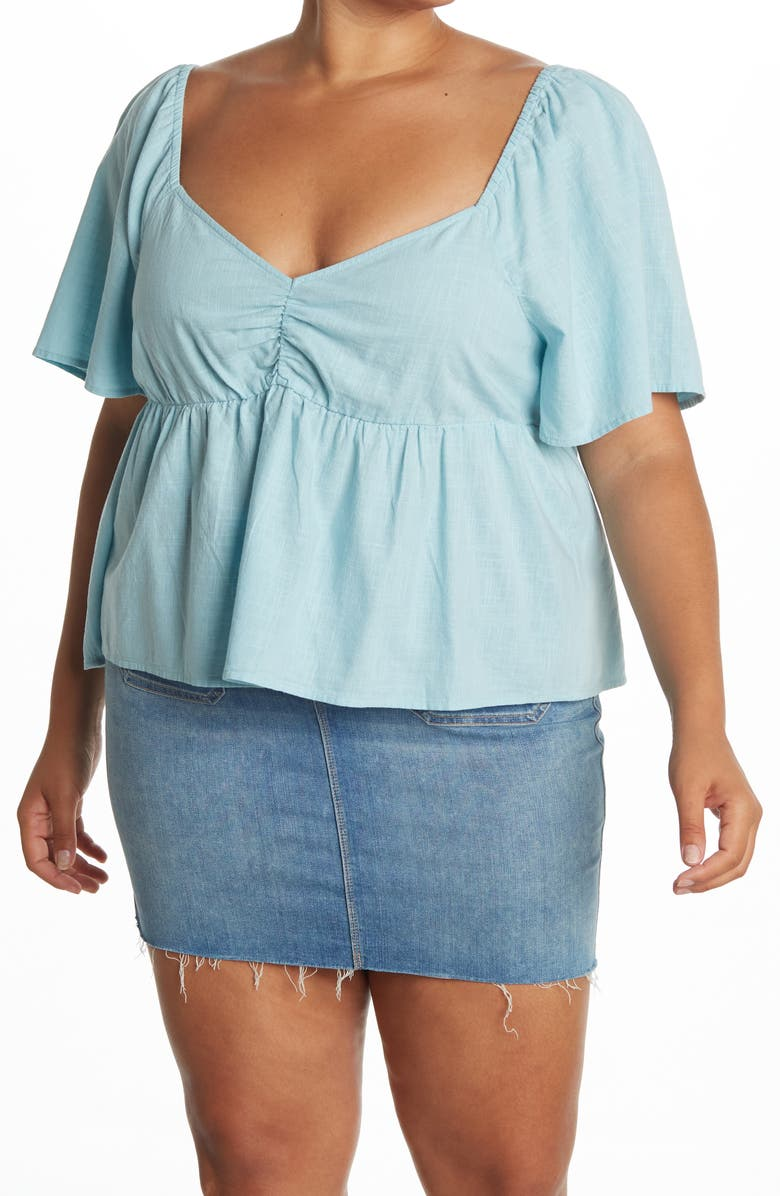 ABOUND Cinched Front Short Sleeve Top, Main, color, BLUE GLAZE