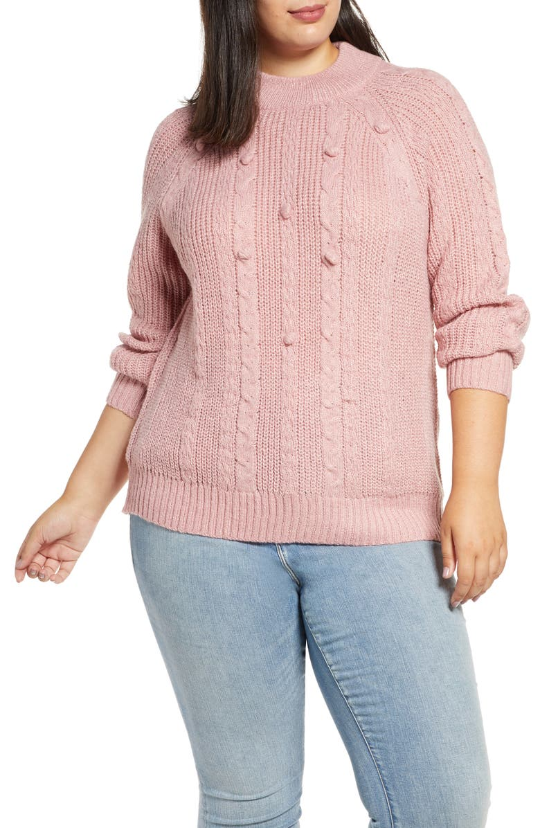 SINGLE THREAD Textured Pom Sweater, Main, color, PINK