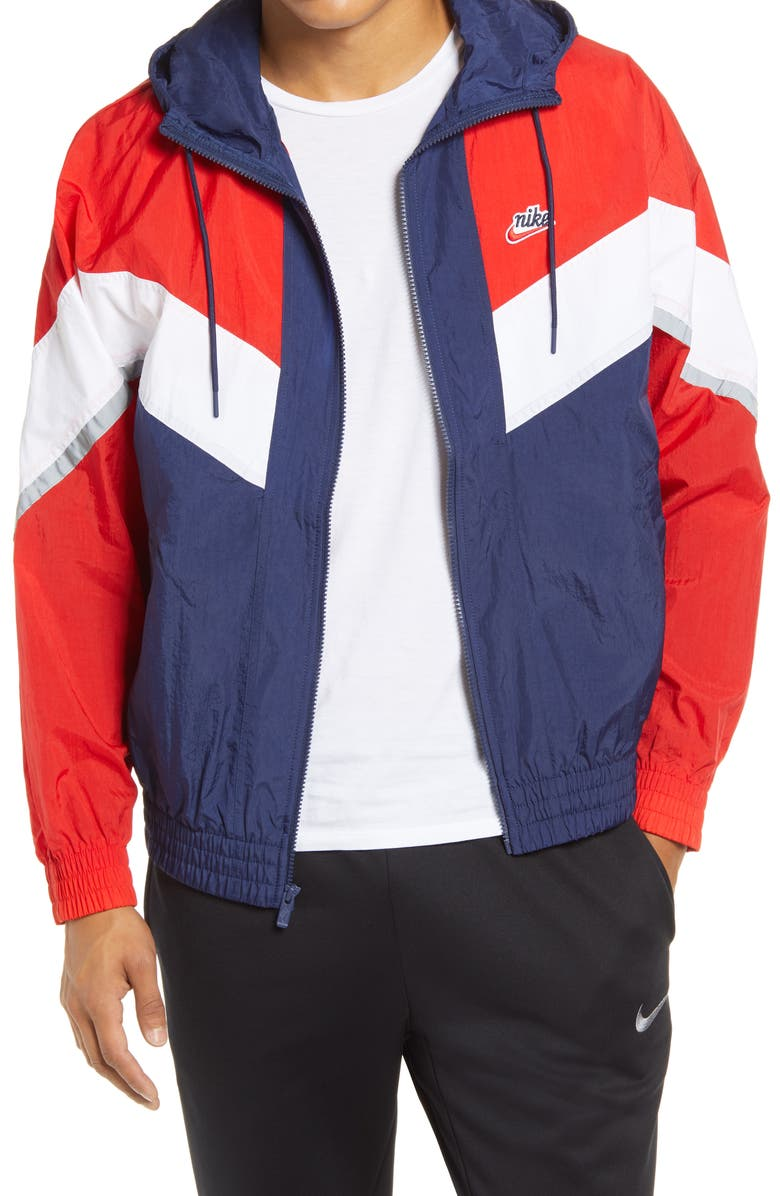 NIKE Windrunner+ Water Repellent Jacket, Main, color, MIDNIGHT NAVY/ RED/ WHITE